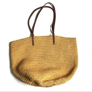 J. Crew Straw Tote Bag with Leather Handles